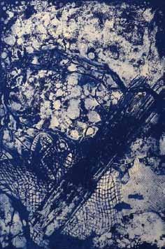 "Helga Kellert-Leete - Grafik (""o. T."" - blau), KunstGalerieHans"