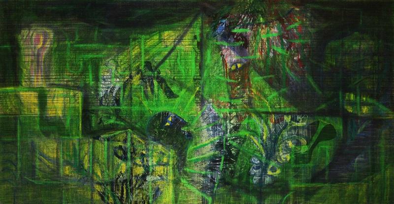 Danjana Brandes - Idyll, Mischtechnik auf selbst gewebter Leinwand, 2015 (KunstGalerieHans)