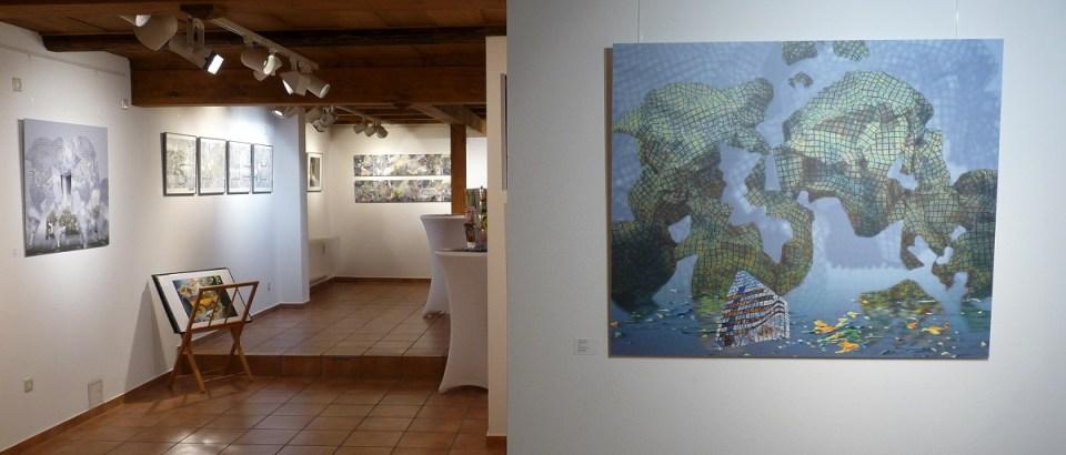 """Blick in die Ausstellung Merten Sievers """"yellow submarine"""" in der KunstGalerieHans 2019"""