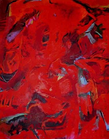 Helga Kellert-Leete - Großes Rot (1994), 150 x 125 cm, Mischtechnik auf Leinwand - KunstGalerieHans