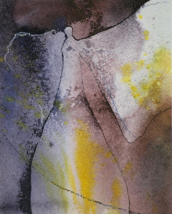 Silvia Ibach - Engel (Aquarell, braun-gelb)
