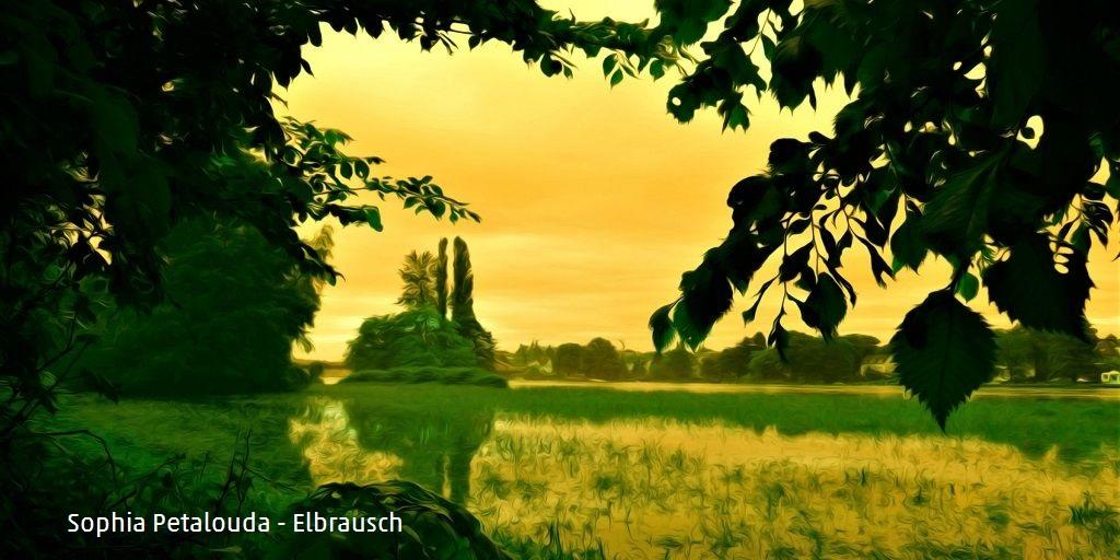 Sophia Petalouda - Elbrausch (DigitArt) - Das Bild zeigt eine grün-gelb eingefärbte Elblandschaft mit Bäumen