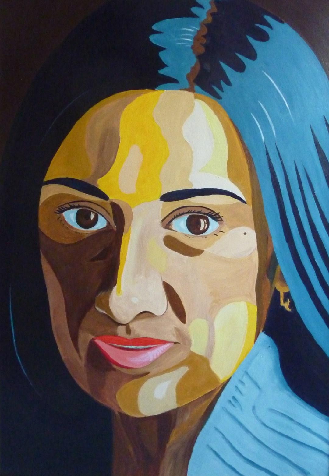 Naema Tahir, acryl op papier 100 x 70 cm