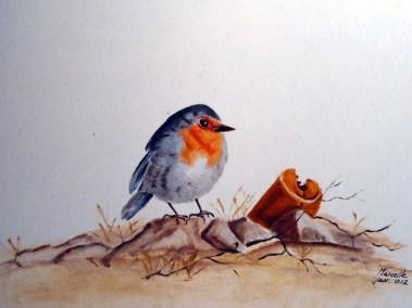Marcelle de Haan, Roodborstje, olieverf 24 x 18 cm
