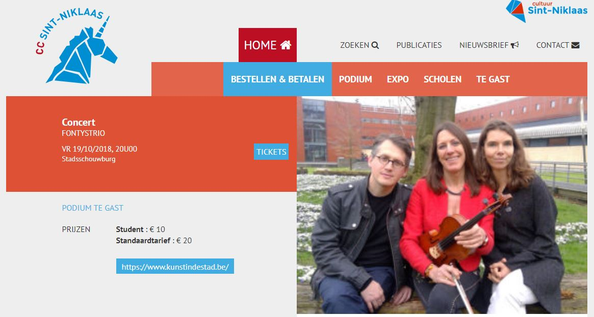 Online Ticketverkoop van Concert Kunst in de stad – Stadsschouwburg 19 oktober 2018 via CC Sint-Niklaas