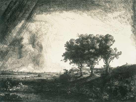 Drei Bume  Rembrandt Hamerszoon van Rij als Kunstdruck