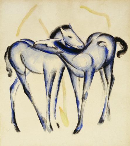 Zwei blaue Pferde