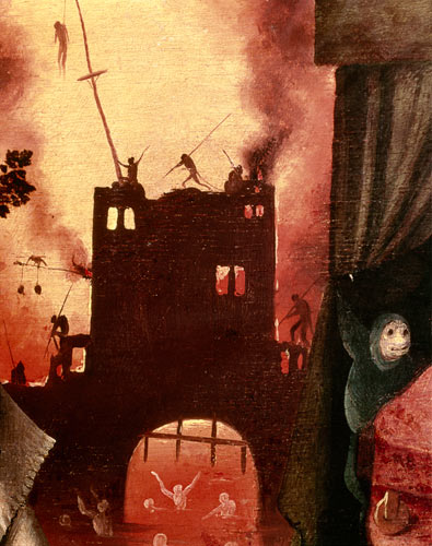 Hieronymus Bosch - Tondal's Vision, detail of the burning gateway