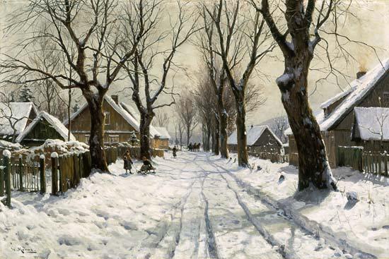 Winter im Dorf  Walter Moras als Kunstdruck oder