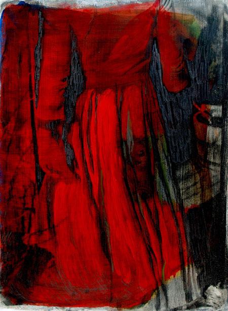 Se min kjole, 2008. Fotoemulsion og acryl, 70 x 100 cm.