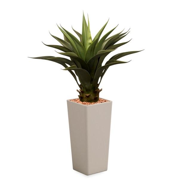HTT - Kunstplant Agave vetplant in Clou vierkant taupe H105 cm - kunstplantshop.nl