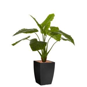 HTT - Kunstplant Philodendron in Genesis vierkant antraciet H140 cm - kunstplantshop.nl