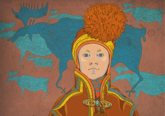 Sami girl with a deer