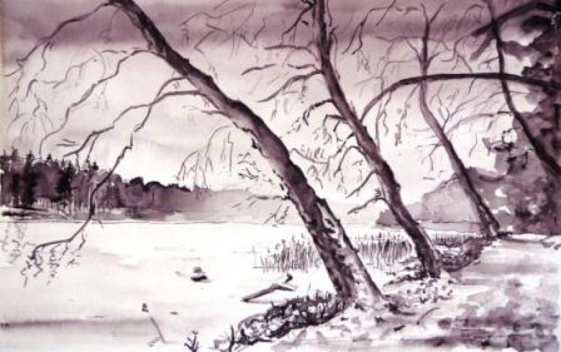 Die winterliche Stille genießen - Aquarell 2014
