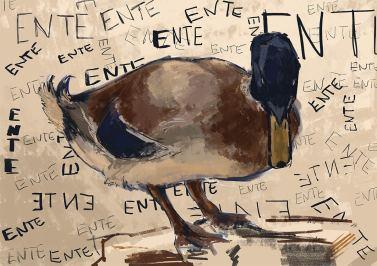 Ganz klar eine Ente. Mit Schriftzug für alle, die lieber lesen. (Viktoriya Korshunova)