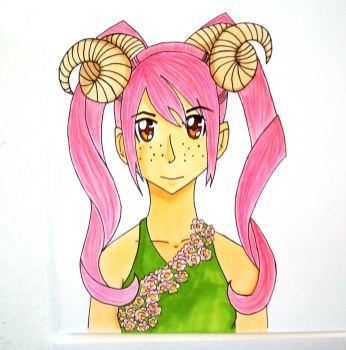 Personifizierung eines Sternzeichens: Mangagirl mit Hörnern und pinkem Haar