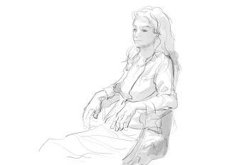 Skizze aus Linien, mit Licht und Schatten: Modell sitzend, mit Kleidung. Für die Darstellung von Schatten wurden nur Grautöne verwendet. (Beni Heyer)