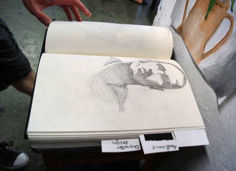 Skizzenbücher wurden auch gezeigt