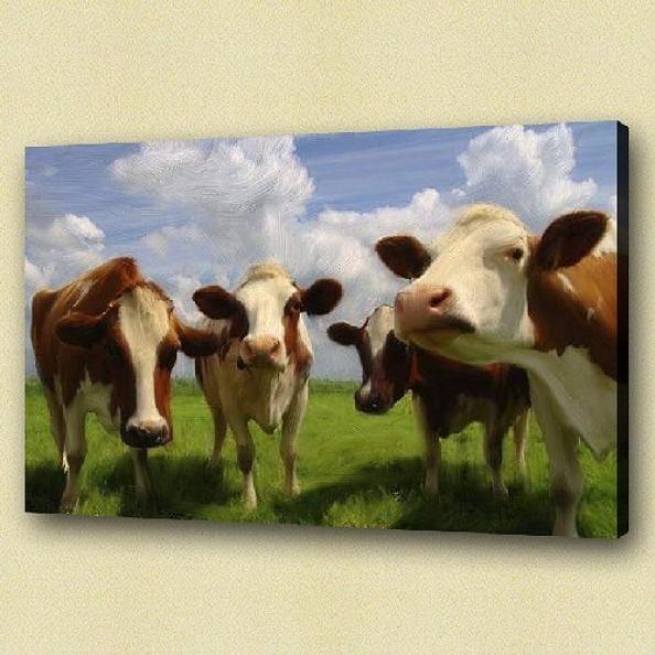 Olieverf schilderij Koeien in de wei  Kunst voor in huis