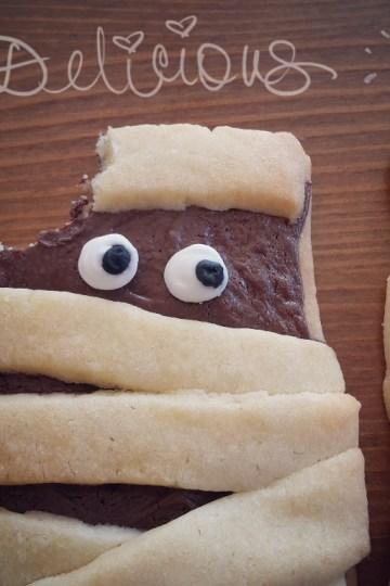 Halloween Mumien Kekse Mürbteig Nutella