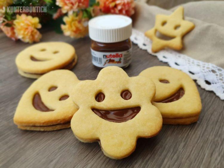 Smiley Keks Mürbteig Füllung Nutella