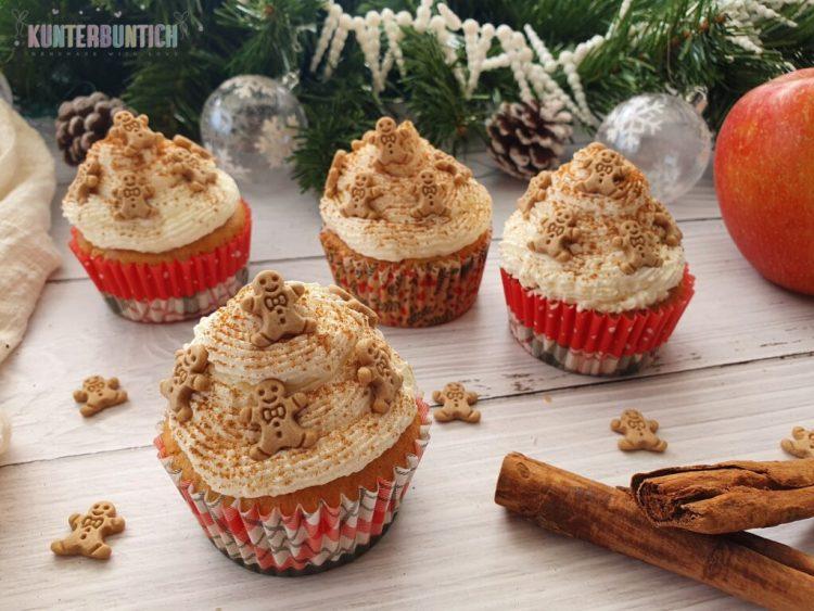 Apfel-Zimt-Cupcakes mit Mascarpone-Sahne und kleinen Keksen