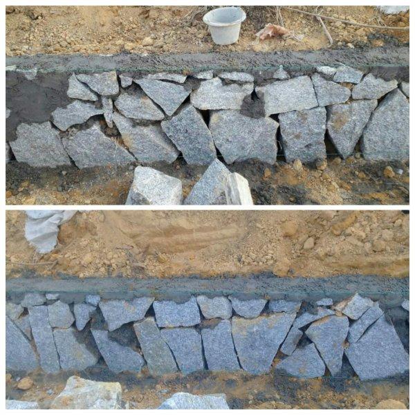 Pekerjaan pemasangan batu saluran drainase diduga tidak sesuai spesifikasi (dok. KM)