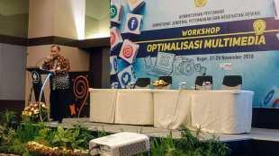 Sekretaris Ditjen Peternakan dan Kesehatan Hewan, Dr. Ir. Nasrullah, M.Sc, membuka secara resmi kegiatan Workshop Optimalisasi Multimedia di IPB Convention Centre (ICC), Botani Square Building, Bogor, Jawa Barat, Selasa 27/11/2018 (dok. KM)