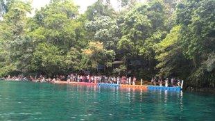 Dermaga tujuan lokasi wisata Labuan Cermin, Biduk-Biduk, Kabupaten Berau, Kaltim (dok. KM)