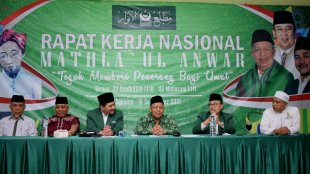 Ketua Majelis Amanah Mathla'ul Anwar KH. Irsyad Djuwaeli menyampaikan sambutan pada Rakernas Mathla'ul Anwar 2019 di Menes Pandeglang, Sabtu 31/8/2019 (Foto: Istimewa)