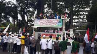 Aksi Front Mahasiswa Islam di depan kantor Kementerian Luar Negeri, Jakarta, Jumat 22/11/2019 (dok. KM)