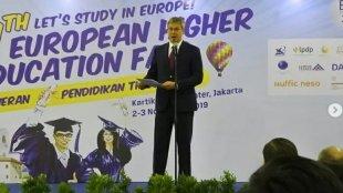Duta Besar Uni Eropa untuk Indonesia Vincent Piket membuka Pameran Pendidikan Eropa atau European Higher Education Fair (EHEF) di Jakarta, Sabtu, 2/11/2019