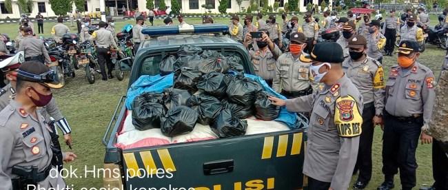 Sembako yang dibagikan oleh Polres Lampung Utara, Jumat26/6/2020