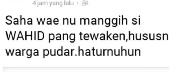 Postingan di akun milik kades Pudar, Kecamatan Pamarayan, yang dianggap mencemarkan nama baik seorang wartawan Kupas Merdeka (dok. KM)