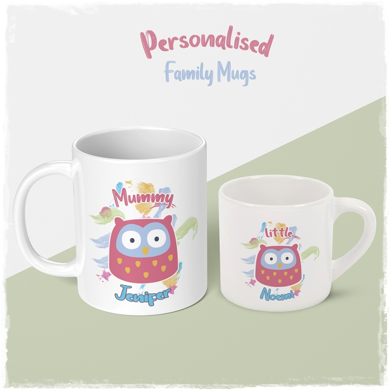 Personalised family mug for dother and mummy big mug and small