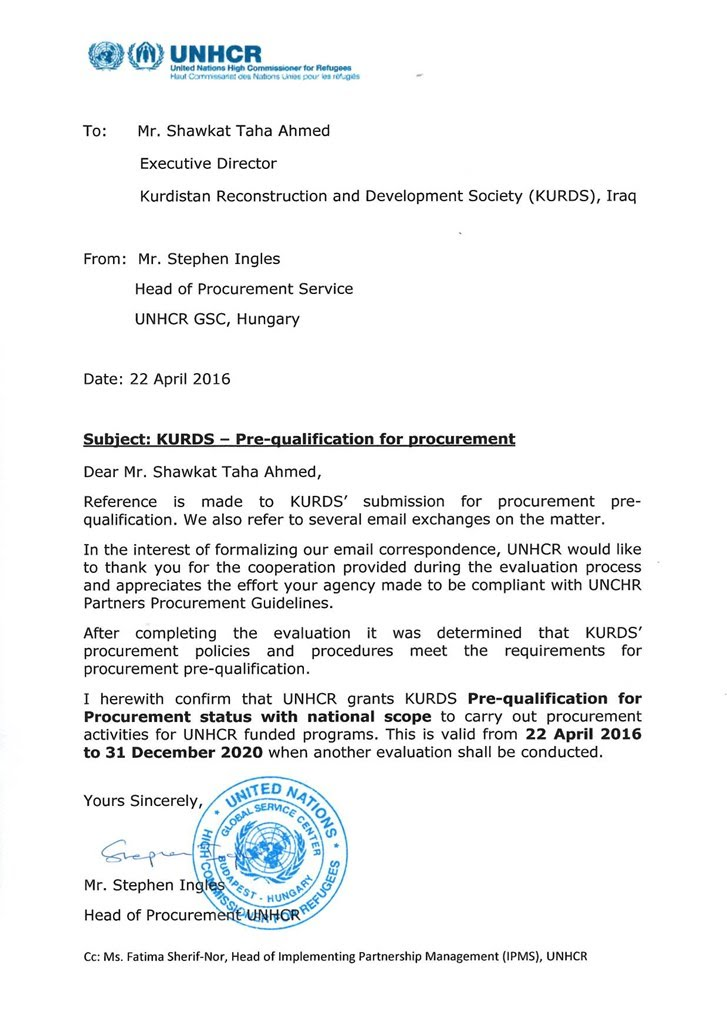 Qualification letter for construction