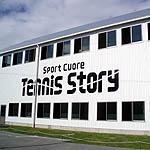テニススクール外壁に文字書き