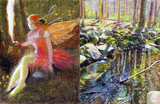 colored pencils pastel drawing fairy faerie brandywine state creek park colorful bright impressionistic