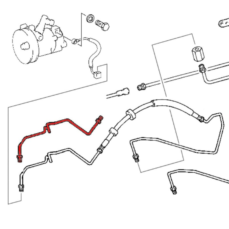 Mercedes W210 hydraulic line front wheel arch A1243209272
