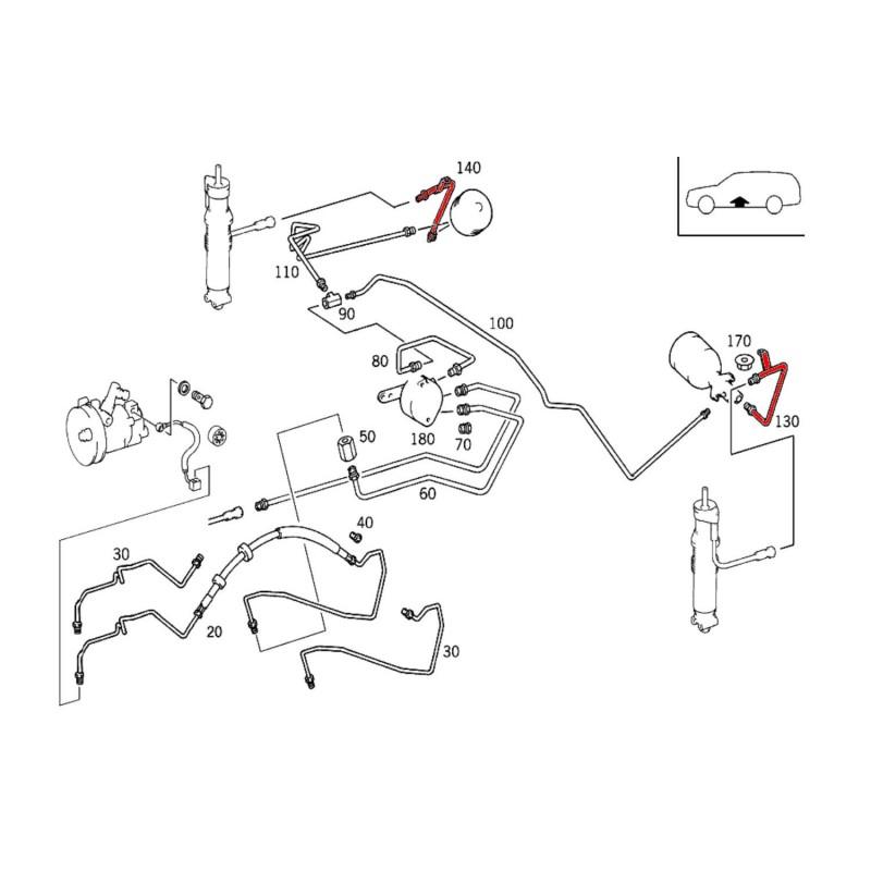 Mercedes S210 Leitung Niveauregulierung (Druckspeicher