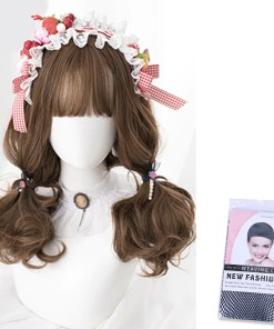 Kawaii Brunette Wavy Wig with Bnags