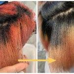 黒人ハーフ×セルフブリーチの超高難度縮毛矯正でストレートヘアに