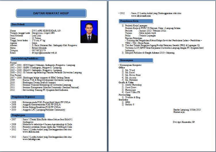 Contoh Format Curriculum Vitae Cv Yang Baik Untuk Melamar Kerja