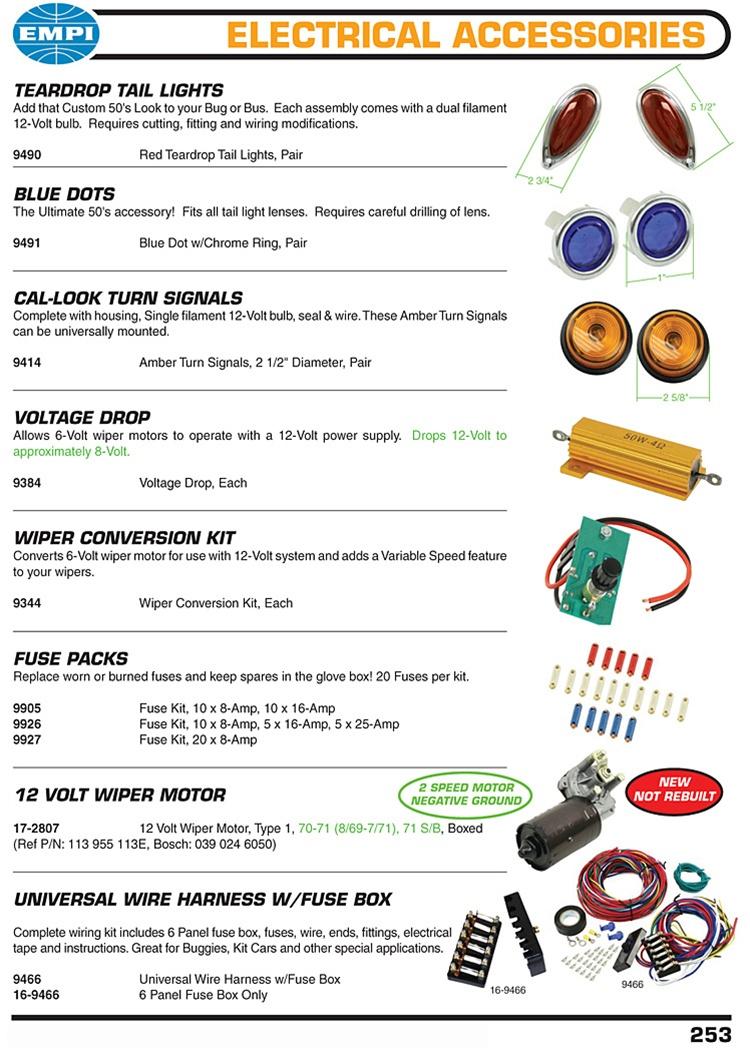 medium resolution of  voltage drop wiper conversions kit fuses 12 volt wiper motors universal wire harness for vw volkswagen teardrop tail lights add that