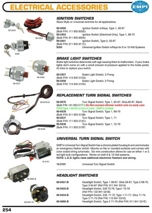 Ignition switches, brakes light switches, turnsignal switches, headlight switches for VW
