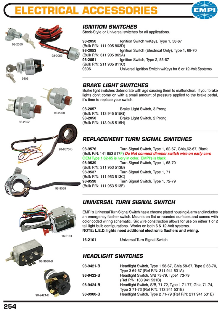 universal relay wiring diagram pioneer stereo ignition switches, brakes light turnsignal headlight switches for vw ...