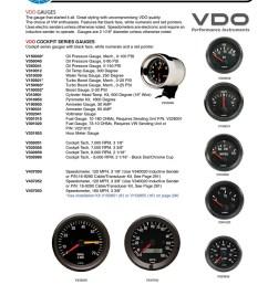 vdo cockpit gauges oil pressure oil and water temperature fuel voltmeter amp meter turbo boost cylinder head temp hour meter tachometer  [ 808 x 1050 Pixel ]