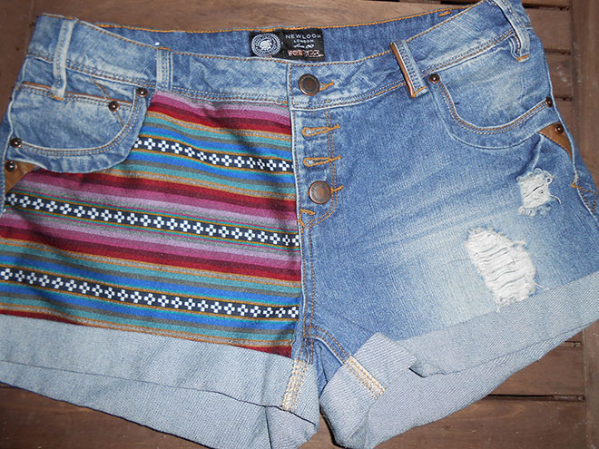 {DIY Pantalon} Customisation short jean navajo