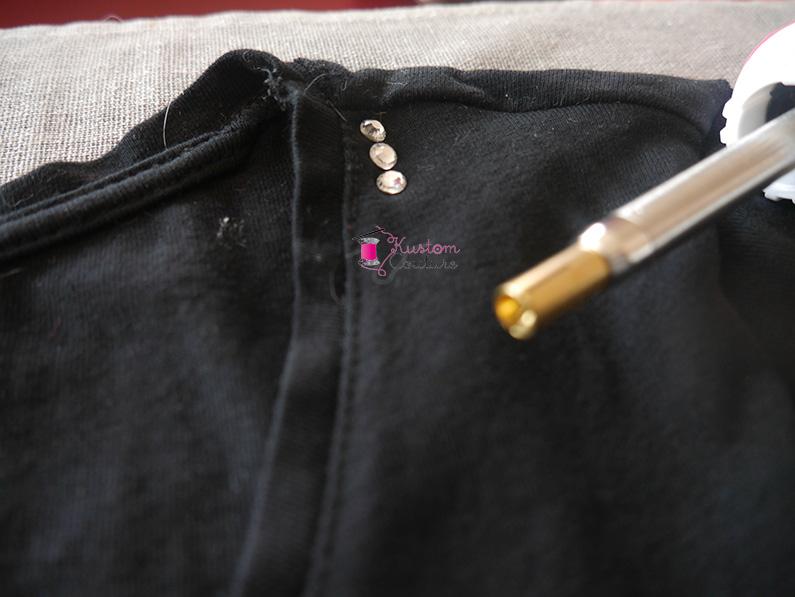 Customisation d'un col de tee-shirt simple avec des strass | Kustom Couture