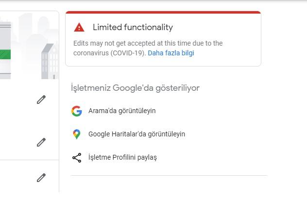 Google Benim işletmem Sınırlı işlevsellik Limited functionality